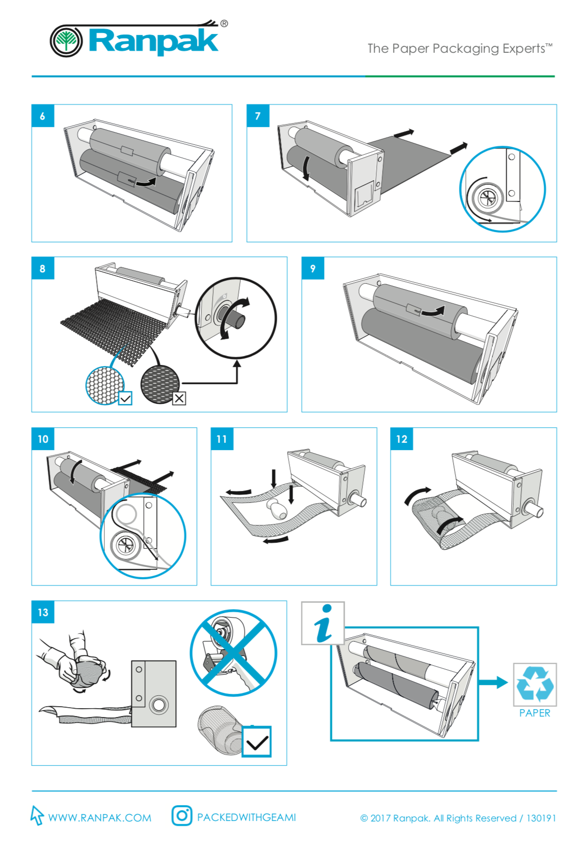 A quick start guide explaining the operation of a packaging machine without any text