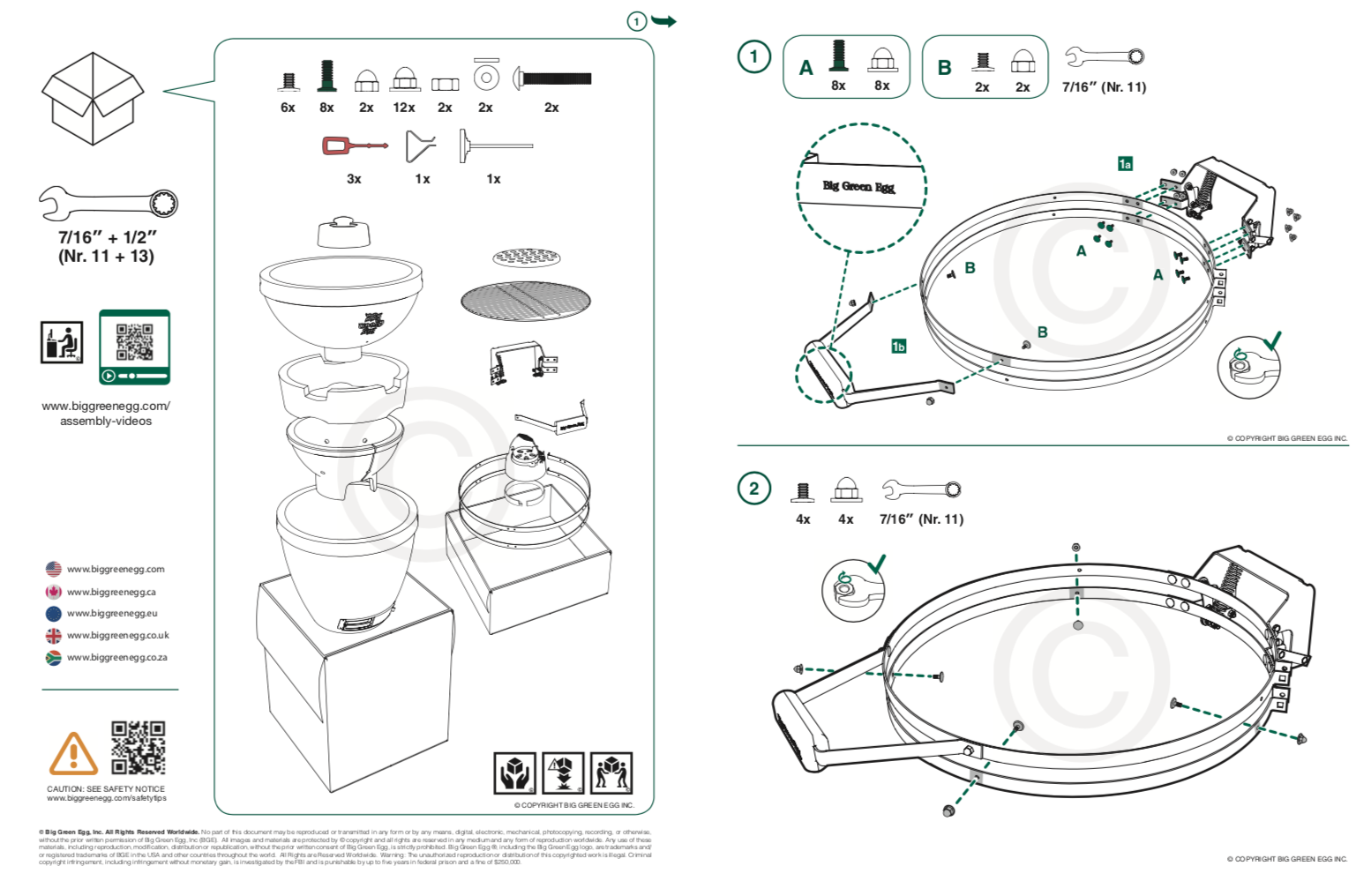 A quick start guide explaining the assembly of a Green Egg cooker